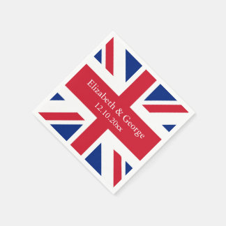 UK Union Jack Flag British Wedding Standard Cocktail Napkin