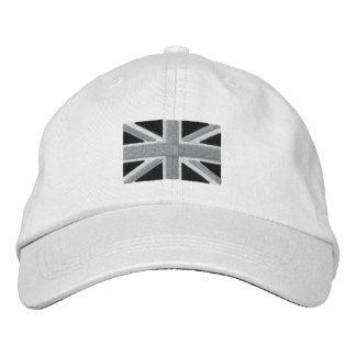 UK Union Jack Flag In Black And White Embroidered Baseball Cap