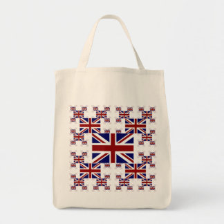 UK Union Jack Flag in Layers #2 Grocery Tote Bag