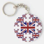 UK Union Jack Flag in Layers #2 Basic Round Button Keychain