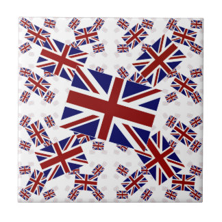 UK Union Jack Flag in Layers Askew Small Square Tile