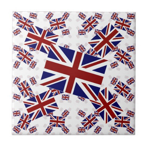UK Union Jack Flag in Layers Askew Tile