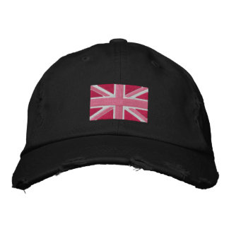UK Union Jack Flag In Pink Embroidered Hat