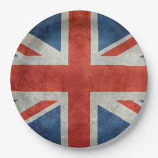 UK Union Jack Flag in retro style vintage textures Paper Plate