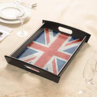 UK Union Jack Flag in retro style vintage textures Serving Tray