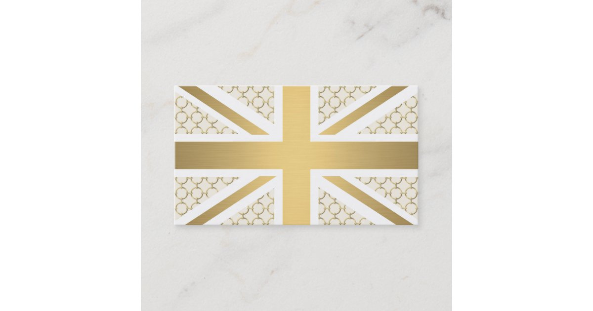 UK Union Jack Flag with Gold Equestrian Pattern Business Card ...