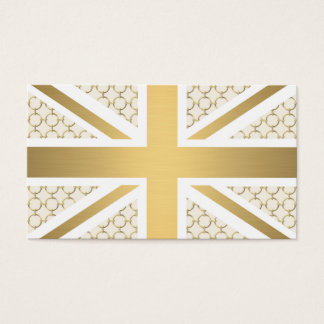 UK Union Jack Flag with Gold Equestrian Pattern Business Card