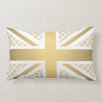 UK Union Jack Flag with Gold Equestrian Pattern Lumbar Pillow