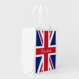UK Union Jack Personalized Flag Grocery Bags