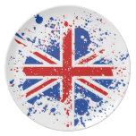UK Union Jack Splash Colors Flag Plate
