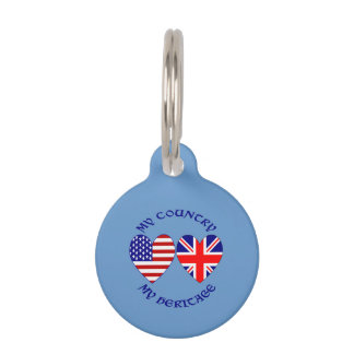 UK USA Country Heritage Pet ID Tag