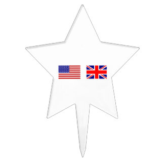 UK & USA Flags Side by Side Cake Topper