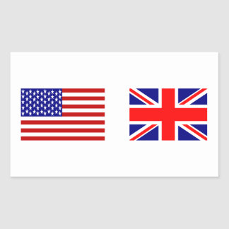 UK & USA Flags Side by Side Rectangular Sticker