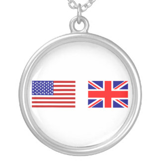 UK & USA Flags Side by Side Round Pendant Necklace