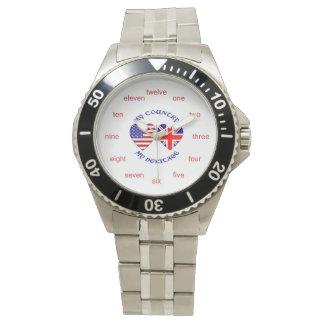 UK USA My Country My Heritage Wristwatch