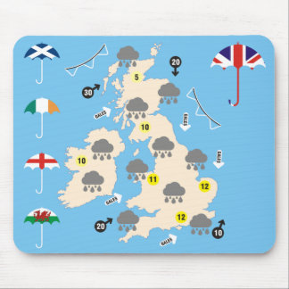UK Weather Forecast Map Mouse Pad