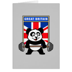 Greeting Card with Great Britain Weightlifting Panda design