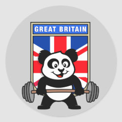 Round Sticker with Great Britain Weightlifting Panda design