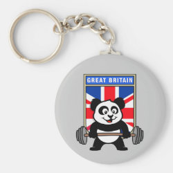 Basic Button Keychain with Great Britain Weightlifting Panda design