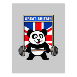 Postcard with Great Britain Weightlifting Panda design