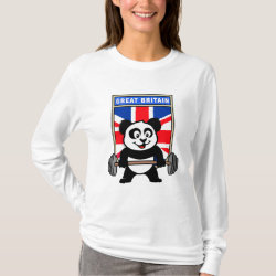 Women's Basic Long Sleeve T-Shirt with Great Britain Weightlifting Panda design
