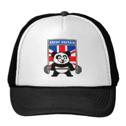 Trucker Hat with Great Britain Weightlifting Panda design