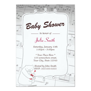 Uke Bear Music Notes Baby Shower Invitations at Zazzle