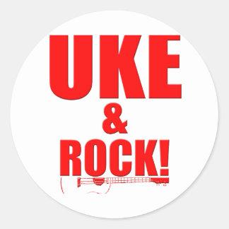Uke y roca pegatina redonda