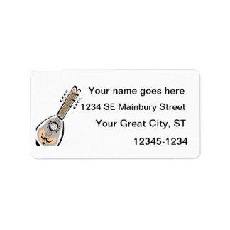 Ukelele, eight string, graphic image design personalized address label