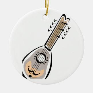 Ukelele, ocho ata, diseño gráfico de la imagen adorno navideño redondo de cerámica
