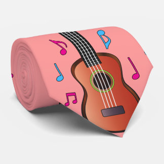 Ukelele with Notes in Color Tie