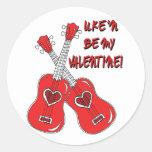 Uke'n sea mi corazón del ukulele de la tarjeta del pegatina redonda