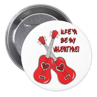 Uke'n sea mi corazón del ukulele de la tarjeta del pin redondo de 3 pulgadas