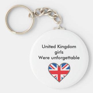 UKFLAG, United Kingdom girls Were unforgettable Basic Round Button Keychain