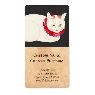 ukiyo-e del retrato del gato del nekko del tama etiqueta de envío