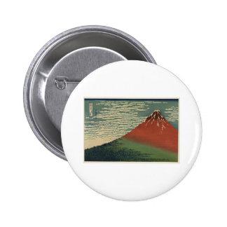 Ukiyo-e Hokusai Fujiyama Button
