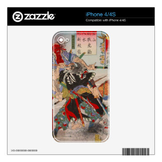 Ukiyo-e Japanese Painting Of A Samurai Fighting Decal For iPhone 4S