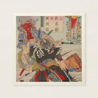 Ukiyo-e Japanese Painting Of A Samurai Fighting Paper Napkin