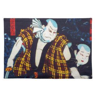 Ukiyo-e Japanese Painting Of Two Kabuki Players Cloth Place Mat