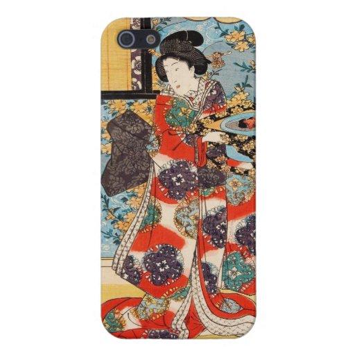 Ukiyo-e japonés Utagawa del geisha del vintage clá iPhone 5 Cobertura