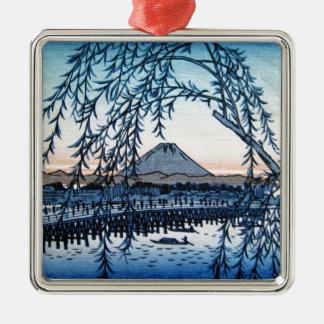 Ukiyo-e Mt. Fuji Japan Metal Ornament