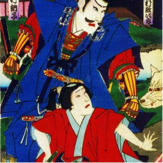Ukiyo-e Old Japanese Painting Of Two Samurais Cutout