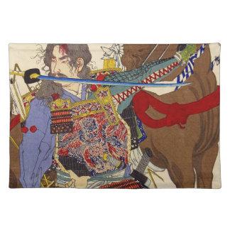 Ukiyo-e Painting Of A Samurai Biting A Sword Cloth Place Mat