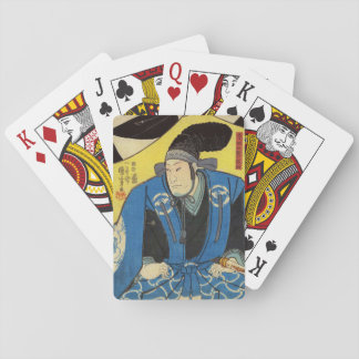 Ukiyo-e Painting Of A Samurai In Yellow Background Playing Cards