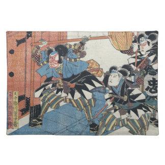 Ukiyo-e Painting Of Three Samurais In Kabuki Show Placemat