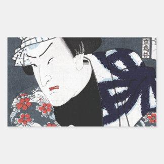 ukiyo-e samurai rectangular sticker