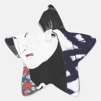 ukiyo-e samurai star sticker