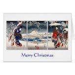 Ukiyo-e snowy landscape triptych Christmas card