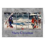 Ukiyo-e snowy landscape triptych Christmas card #2