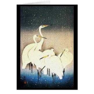 Ukiyo-e Woodblock Art - Animals - Egrets Card